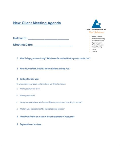 client meeting agenda template 10 free word pdf