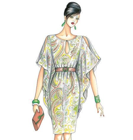 Mccall Butterfly Sleeve Dress by Marfy Dress Kaftan Style Belted Butterfly Sleeves