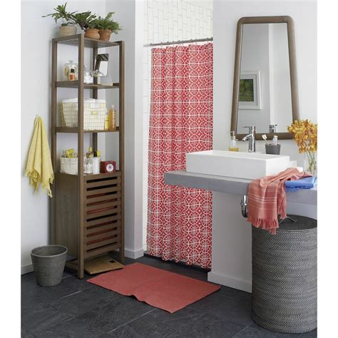 Crate And Barrel Curtain Rods Decor Taza Coral Shower Curtain In Shower Curtains Rings Crate And Barrel Decor Junkie