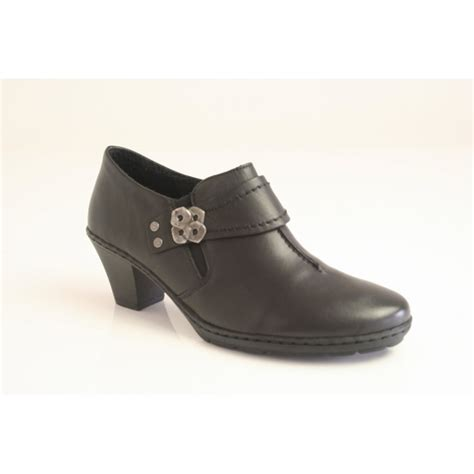 rieker rieker black leather high cut shoe with elasticated
