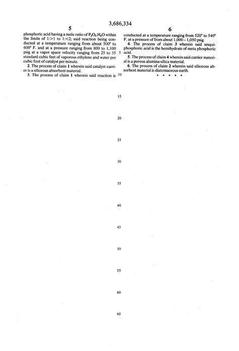 hydration of ethylene patent us3686334 direct hydration of ethylene to ethanol
