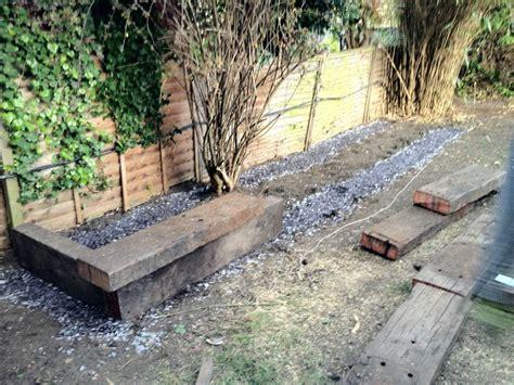 Untreated Reclaimed Railway Sleepers by Raised Bed With Used Untreated Jarrah Railway Sleepers