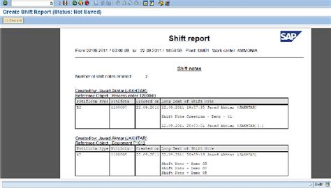 production end of shift report template shift report sap images