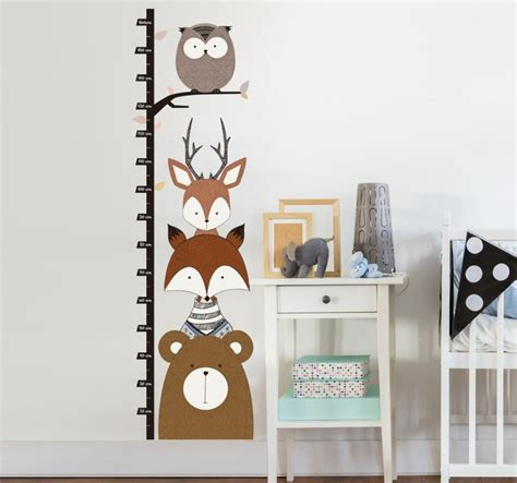 Sticker Wall Decals woodland animals height chart sticker tenstickers