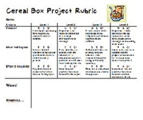 cereal box book report rubric 1000 images about cereal box book report on