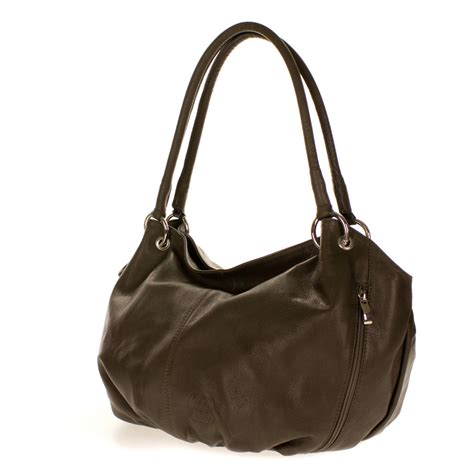 hobo leather bags cosette italian made moss brown soft leather slouchy hobo shoulder bag