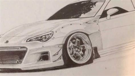 stanced cars drawing rocket bunny car pencil drawing