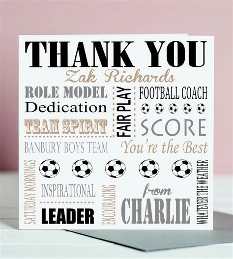 thank you card soccer coach templates thank you football coach card by designs