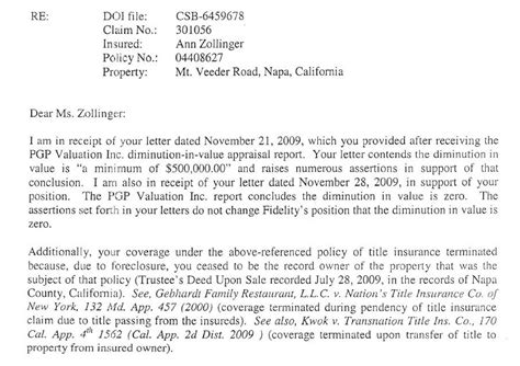 Letter For Vehicle Insurance Claim A Review Of Claim Processing And My Lawsuit Against Fidelity National Title Insurance Company