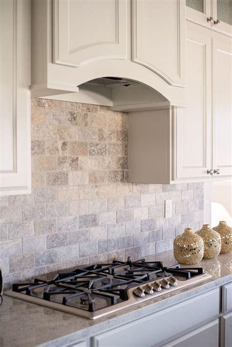 kitchen backsplash ideas with white cabinets silver gas a full wall subway patterned silver travertine backsplash