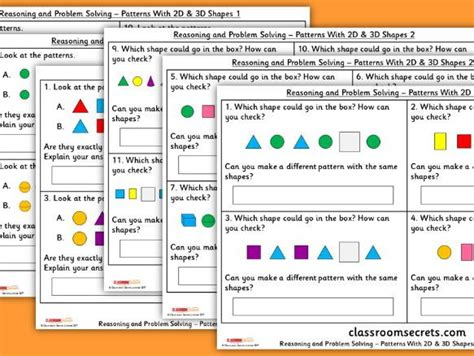 pattern problem solving year 1 year 1 patterns with 2d 3d shapes wrm geometry reasoning