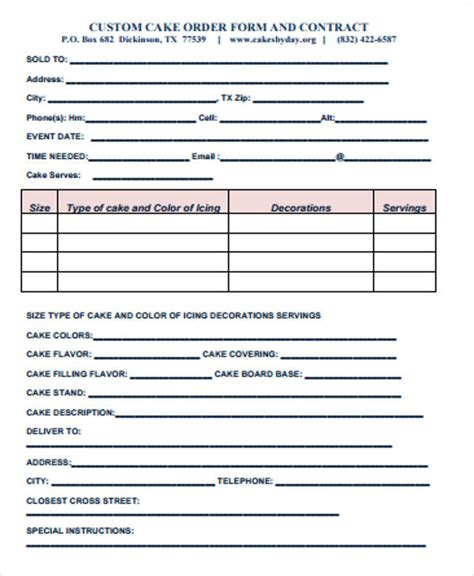 12 Sle Custom Order Forms Sle Templates Custom Cake Order Form Template
