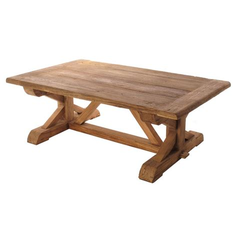 regis solid reclaimed elm wood trestle based coffee table