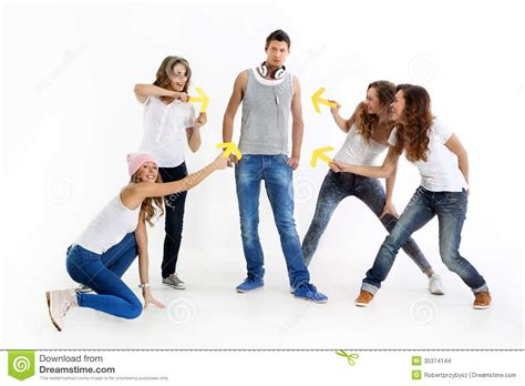 what is the meaning of young people who have a grey streaks group of crazy young people stock photo image 35374144