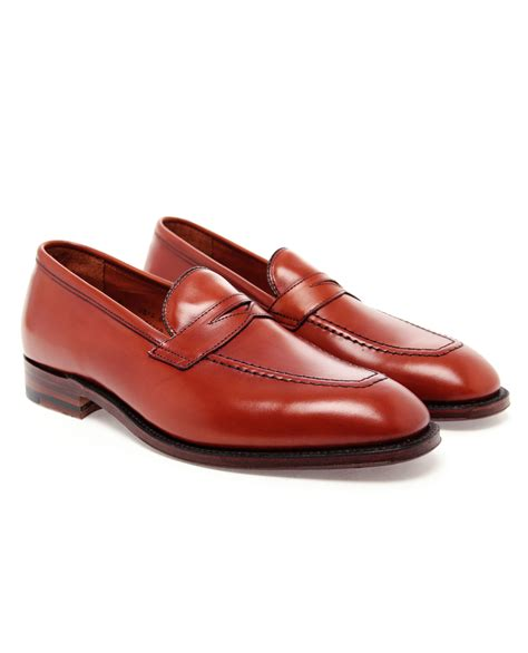 alden loafers alden leather loafers in brown for lyst