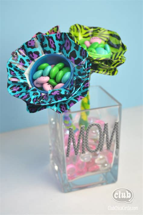 homemade mothers day gifts duct tape flowers using plastic eggs