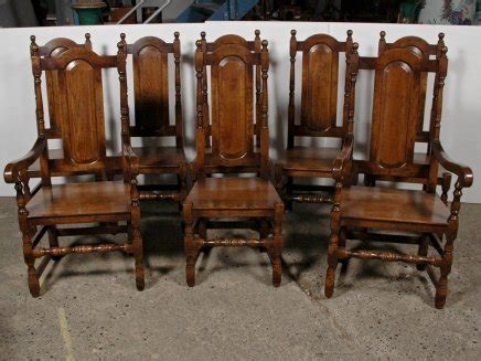 set 8 elizabethan tudor oak dining chairs chair