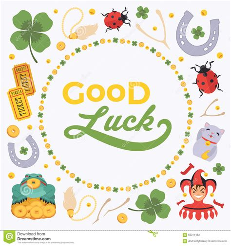 Luck Card Word Template by Vector Decorating Design Made Of Lucky Charms And Stock