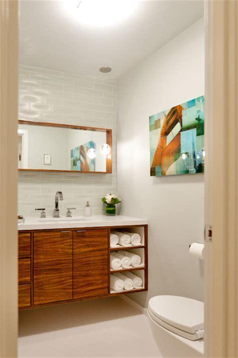 zebra wood vanity contemporary powder room san francisco  farallon construction