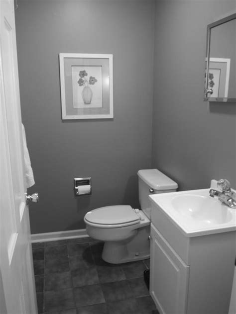 popular small spaces grey bathroom painting ideas with white vanity sink also white wooden