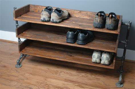 Hanger Handuk handmade reclaimed wood shoe stand rack organizer with pipe stand legs shoes stand and pipes