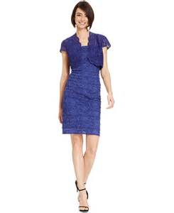 alex evenings cap sleeve bolero jacket dress in blue lyst