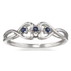 sapphire promise ring in 14k white gold