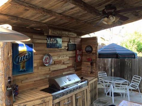 Inexpensive Outdoor Kitchen Ideas by Upcycled Pallet Outdoor Kitchen