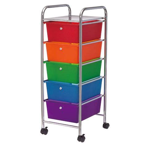 rainbow colored storage drawers studio a 5 drawer rolling rainbow cart shopko