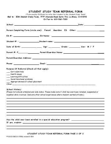 Individual Student And Family Counseling Referral Form Target Student Referral Form Template
