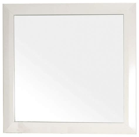 42 inch solid wood frame mirror cream white modern shop houzz bellaterra home square solid wood white frame