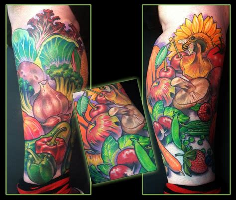vegetable tattoos fruits and vegetables leg by scotty munster
