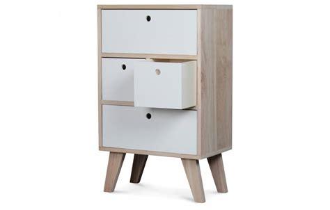 meuble de rangement style scandinave blanc en bois 4 tiroirs boreal