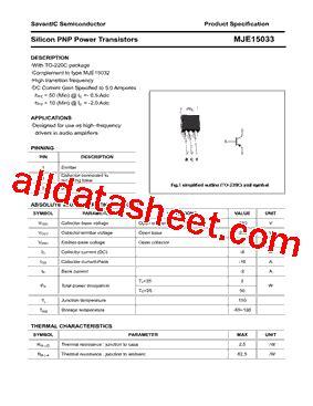 datasheet transistor mje15033 mje15033 datasheet pdf savantic inc