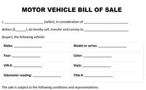 Bill Of Sale Form Florida Motor Vehicle Bill Of Sale Template