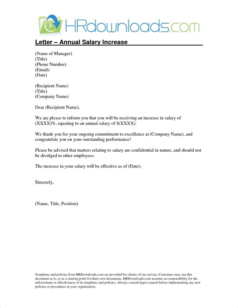 Annual Raise Letter Sle 4 Salary Increase Letter Templatereport Template Document Report Template