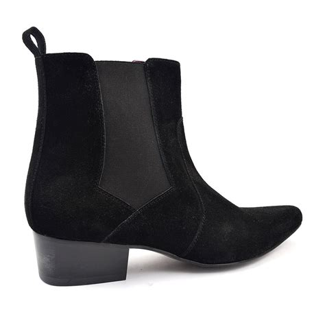 buy cuban heel black suede chelsea boot gucinari