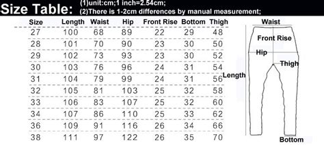 s to s pant size conversion table mens sizes pi