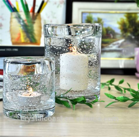 Plain Glass Candle Holders by Wholesale Blown Bubbled Personalized Decal Tempered