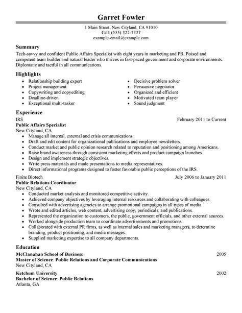 Public Affairs Specialist Resume Example   Government