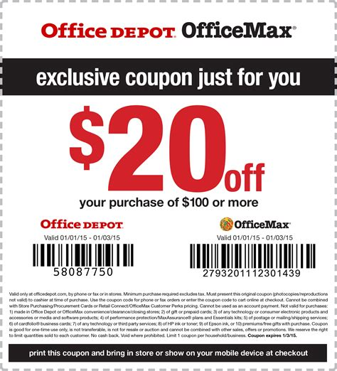 office depot coupons at store officemax office depot coupons 20 off 100 at