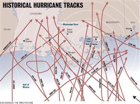 louisiana hurricane map map of historical hurricane tracks and hurricane isaac s