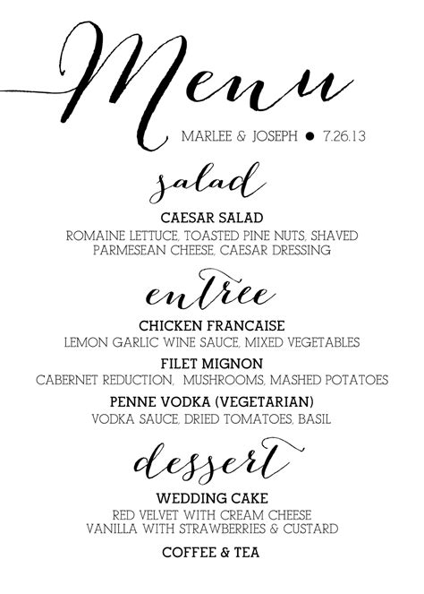 Wedding Menu Font Free sugar calligraphy menus