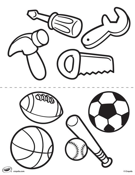 crayola coloring pages sports first pages tools and sports coloring page crayola com