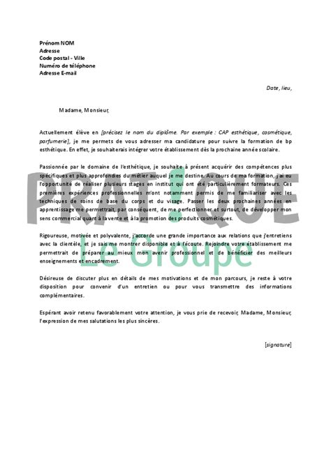 Lettre De Motivation Vendeuse En Parfumerie Lettre De Motivation Pour Stage En Parfumerie