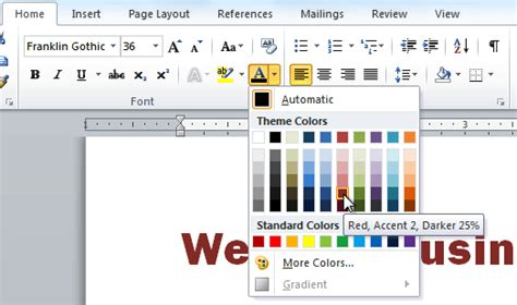 change font color ms office 2010 tutorials changing the font font size