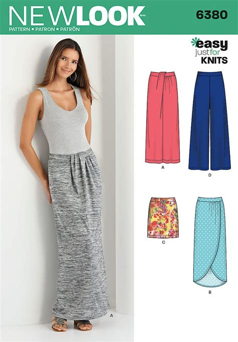 xat new pattern 2015 new look 6380 sewing patterns knit skirts pants