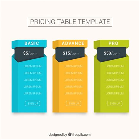pricing tables template in flat design vector premium download pricing table template in flat design vector free download