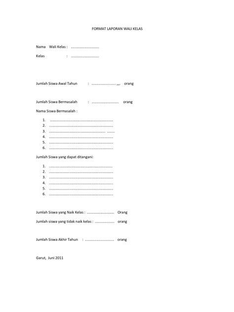 format laporan wali kelas format laporan wali kelas