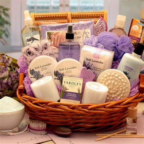 Spa Gifts - essence of lavender spa gift basket gifts for